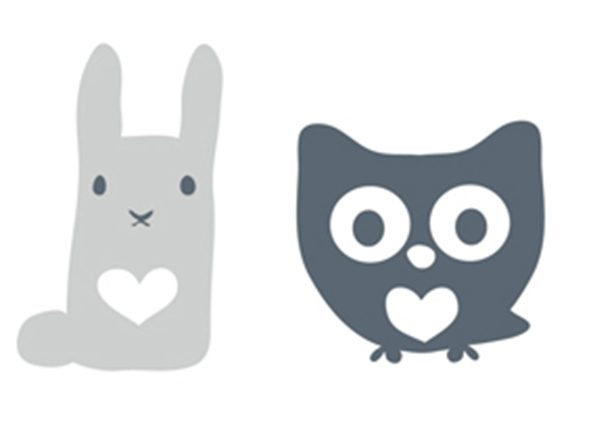 Wall stickers rabbit/owl