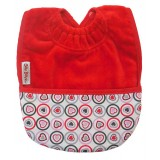 Pocket bib hearts red